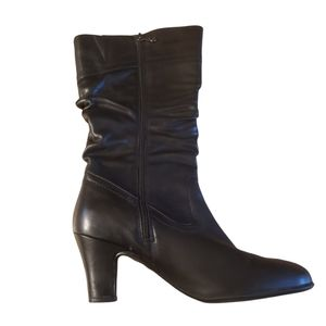 Blondo black leather Ruched Mid heeled boots 9M